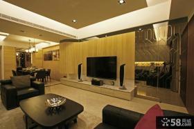 日式简约风格别墅客厅电视背景墙
