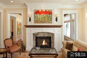 现代美式风格别墅客厅壁炉图片