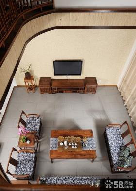 别墅挑高客厅电视柜装修效果图