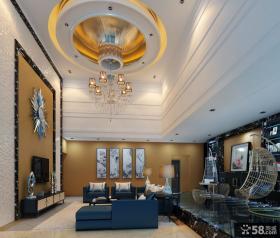 欧式三居客厅吊顶造型设计