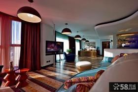 客厅挂杆式电视背景墙造型设计