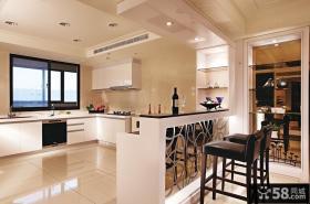 美式风格别墅厨房吧台效果图片