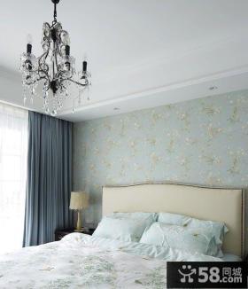 简约二居卧室碎花壁纸图片