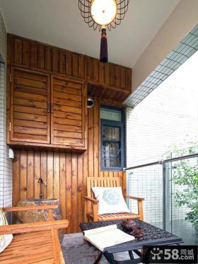 中式风格6平米家居阳台装修效果图