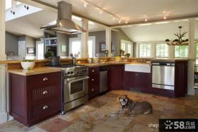 温馨美式田园厨房橱柜装饰效果图