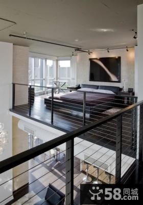 现代复式楼卧室背景墙装修效果图