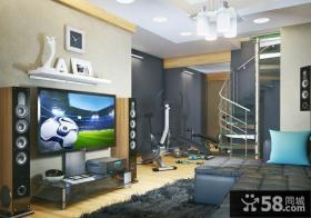 现代时尚复式楼客厅电视背景墙装修效果图