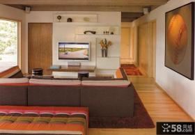 简单客厅电视背景墙设计效果图