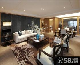 新中式风格客厅沙发背景墙效果图