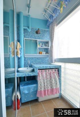 地中海风格时尚阳台卫生间图片欣赏