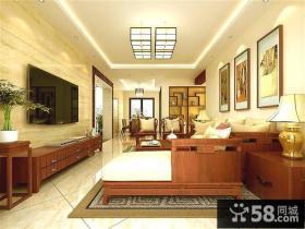 中式客厅电视背景墙效果图2013