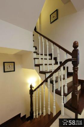 美式复式楼梯扶手效果图