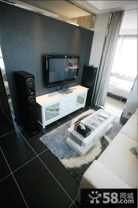 现代简约30平米小户型客厅电视背景墙效果图