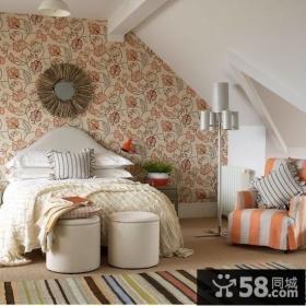 阁楼卧室壁纸背景墙效果图大全2013图片