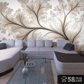 客厅沙发背景墙壁纸造型装修效果图