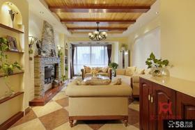 田园风格复式楼客厅有梁吊顶效果图