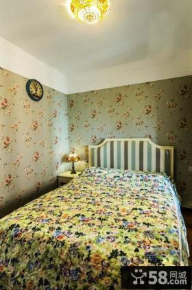 田园风格50平米小户型卧室壁纸效果图