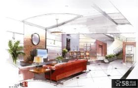 复式楼客厅手绘设计图