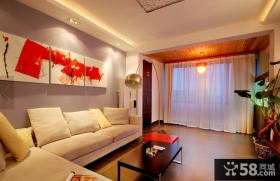 简约风格暖色调客厅墙面装饰画图片