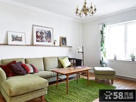 绿色欧式小户型客厅效果图