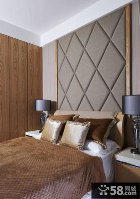 精装美式风格卧室软包背景墙装修