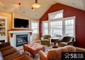 美式乡村阁楼客厅电视背景墙效果图