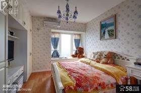 地中海风格卧室墙面壁纸背景墙效果图