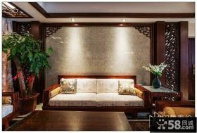 中式风格客厅背景墙装饰发财树图片