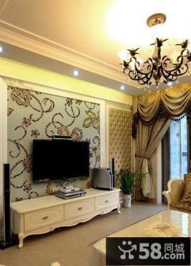 欧式仿古风格二居家装电视背景墙效果图