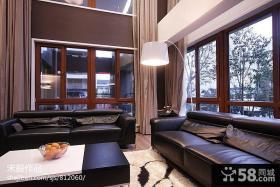 新中式客厅真皮沙发效果图