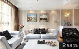 现代简欧沙发背景墙装饰画图片