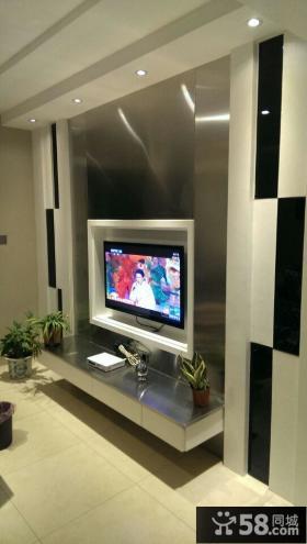 现代风格别墅客厅玻璃电视背景墙装修效果图