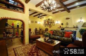 地中海风格复式客厅全景图
