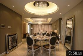 简欧设计豪华餐厅吊顶图片欣赏