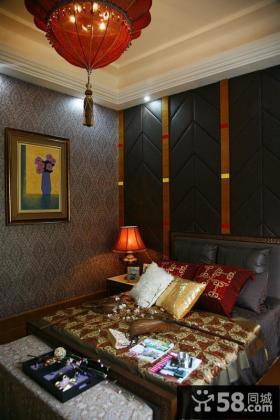 东南亚风格卧室壁纸背景墙效果图大全2013图片
