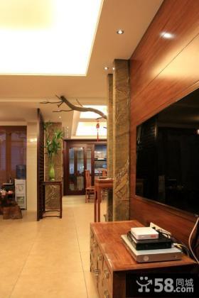 简约中式别墅电视背景墙装修效果图