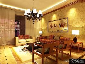 中式客厅沙发背景墙效果图欣赏