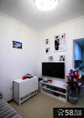 现代简约风格卧室电视背景墙装饰图片