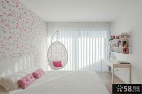 现代简约清新卧室床头壁纸背景墙效果图