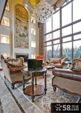 现代美式豪华别墅室内装修效果图大全2014图片