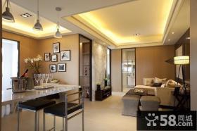 现代两室两厅客厅连餐厅装修效果图