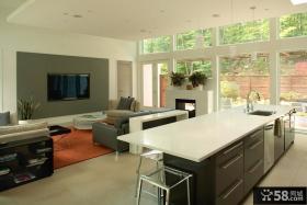 现代风格灰色调镶嵌式电视背景墙装修