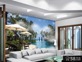 沙发风景背景墙装饰图片