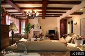 现代美式风格客厅木龙骨吊顶装修效果图