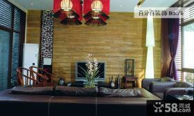 现代中式风格客厅电视背景墙装修图片