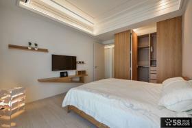 极简日式卧室石膏板吊顶装修图片