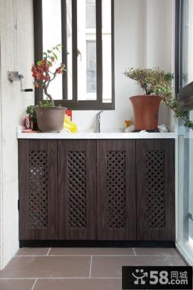 中式阳台储物柜效果图