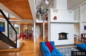 现代复式楼客厅装修效果图