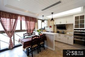 简美式90平米两室两厅厨房餐厅装修效果图