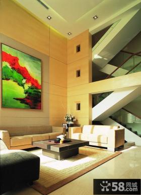 复式楼客厅沙发背景墙装饰画效果图大全